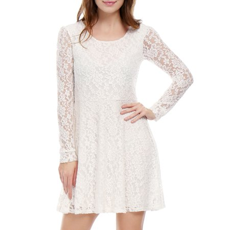 Women's Scoop Neck Long Sleeves Casual Lace Skater Dresses ()