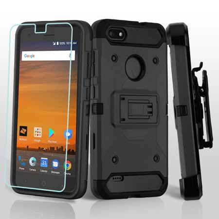 Kaleidio Case For ZTE Blade Force N9517 [Kinetic Armor] Rugged Holster [Belt Clip] Heavy Duty Shockproof Hybrid [Kickstand] Cover w/ Overbrawn Prying Tool [Black/Black]