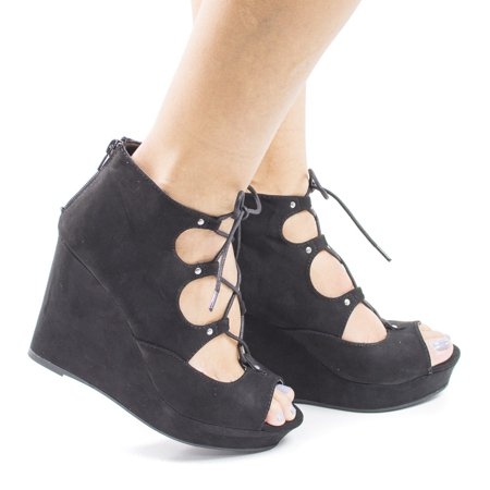 Parker43S by Bamboo, Peep Toe Corset Lace Up Platform High Heel Wedge (Peep Toe Wedge Platform Heels)