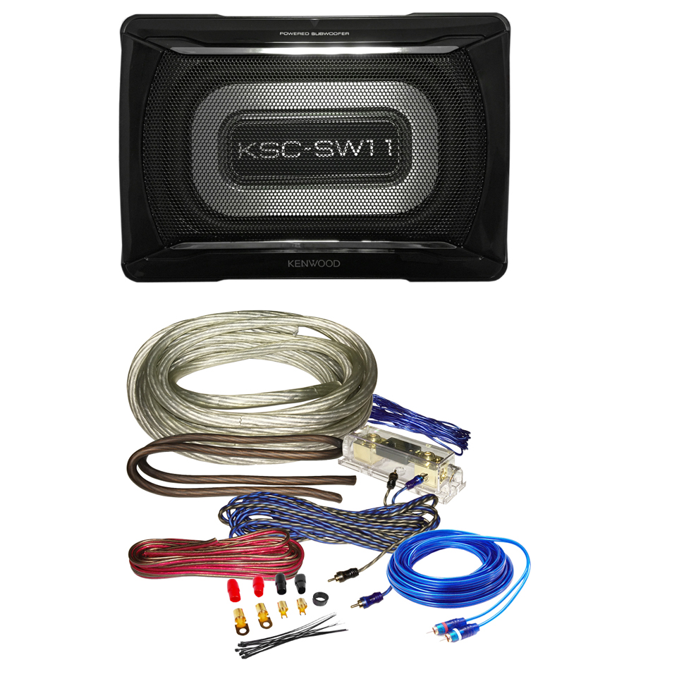 Kenwood KSC-SW11 150W w/ Bass Remote Powered Subwoofer 150W MAX w/ Wiring Kits