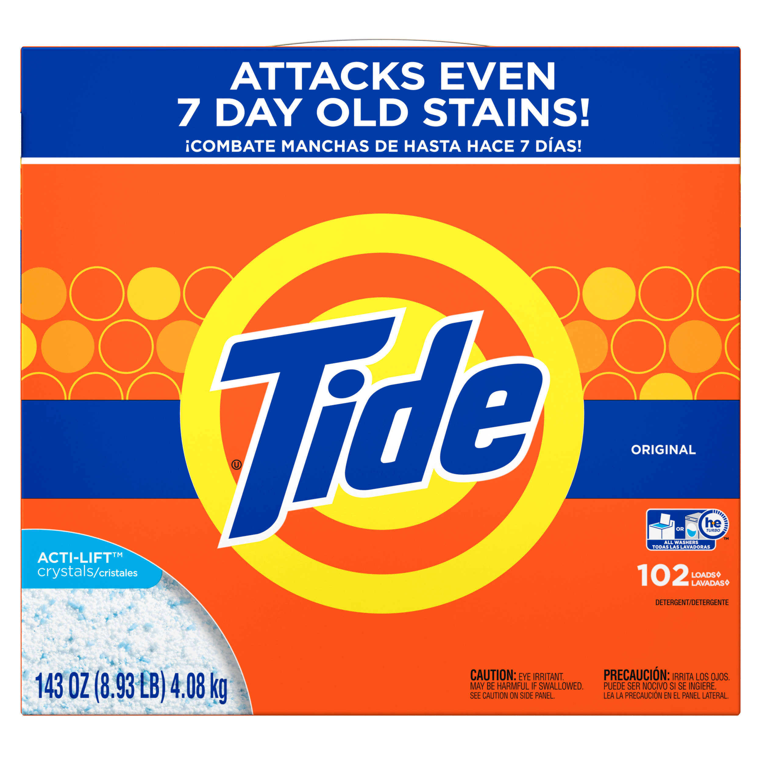 Tide Powder Laundry Detergent, Original, 102 Loads, 143 Oz