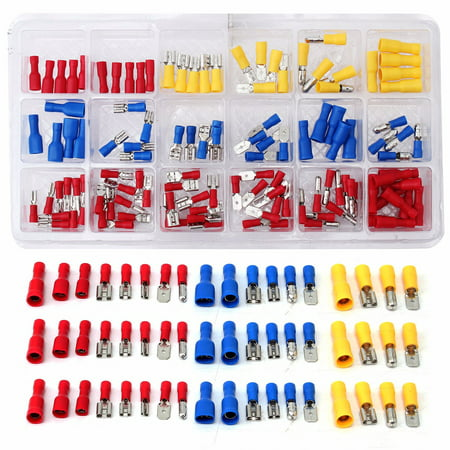 Assorted Terminal Set (SOLOOP 120x Terminal Connector Set Assorted insulatedset Insulated Electrical Wire Crimp Spade Kit)