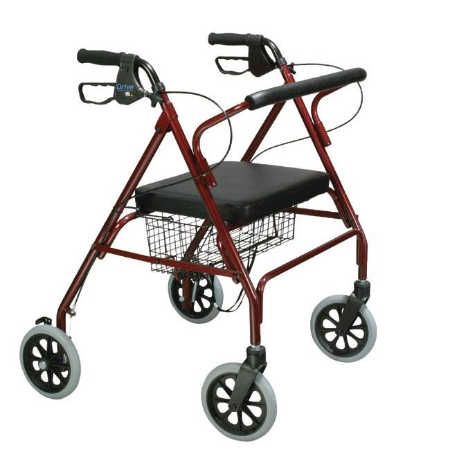 Drive Medical 10215BL-1 Go-Lite Oversized Steel Rollator 4 Wheel Loop Lock Blue