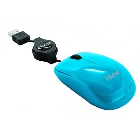 Lifeworks iHome Retractable USB Travel Mouse Blue IH-M1000N