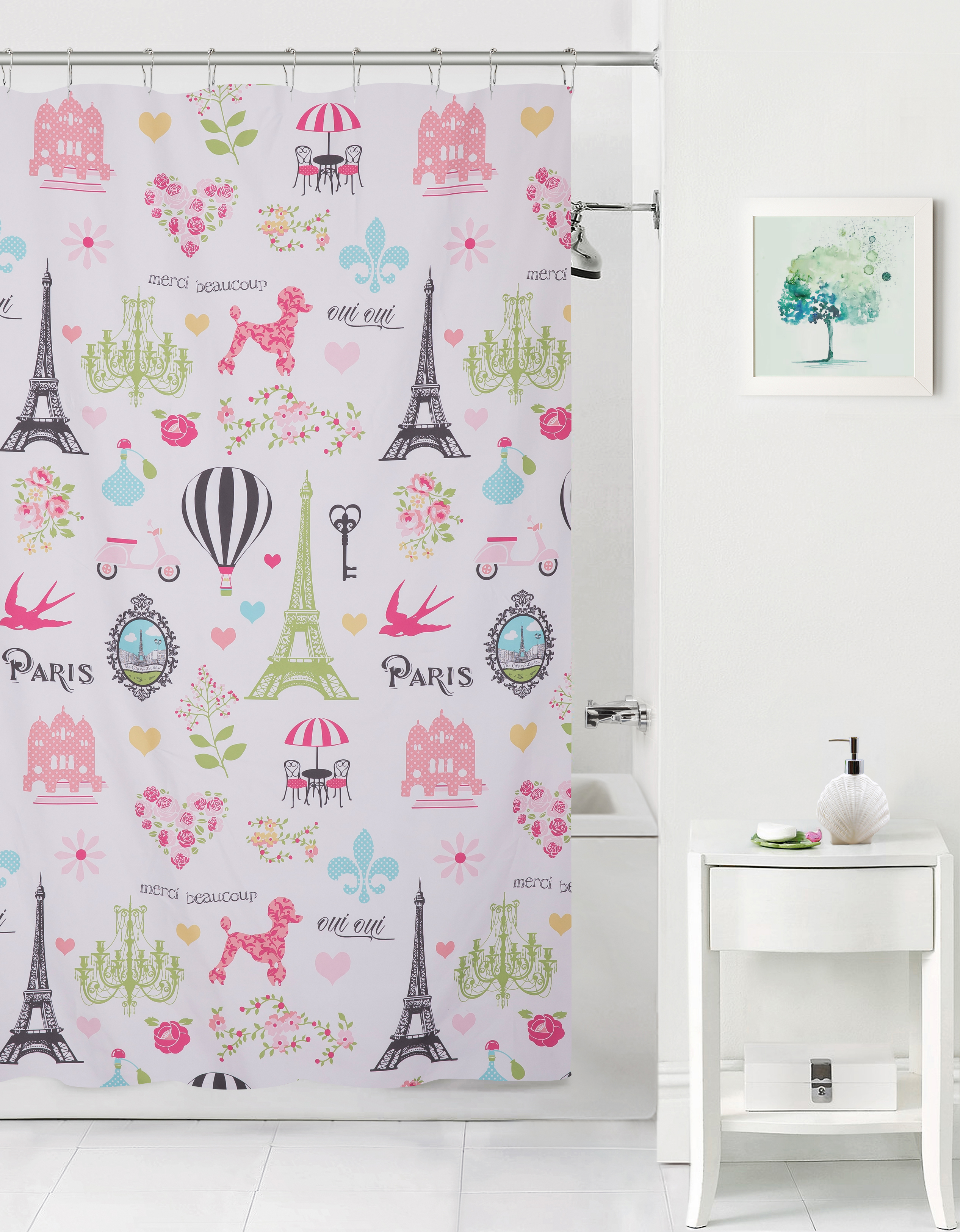 Mainstays Kids I love Paris Fabric Coordinating Shower Curtain by Keeco LLC