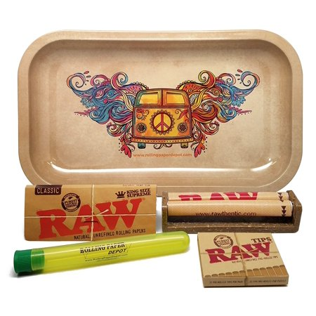 Bundle - 5 Items - RAW King Size Supreme, 110 Roller and Pre-rolled Tips with Rolling Paper Depot Rolling Tray and Kewl Tube (Hippie Van) (Cone Pre Rolled Rolling Paper)