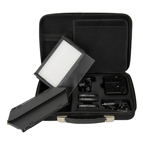 Fotodiox Pro LED-312DS, Professional 312 LED Dimmable and Bi-Color, Dual Color Adjustable Photo Video Light Kit with Rem