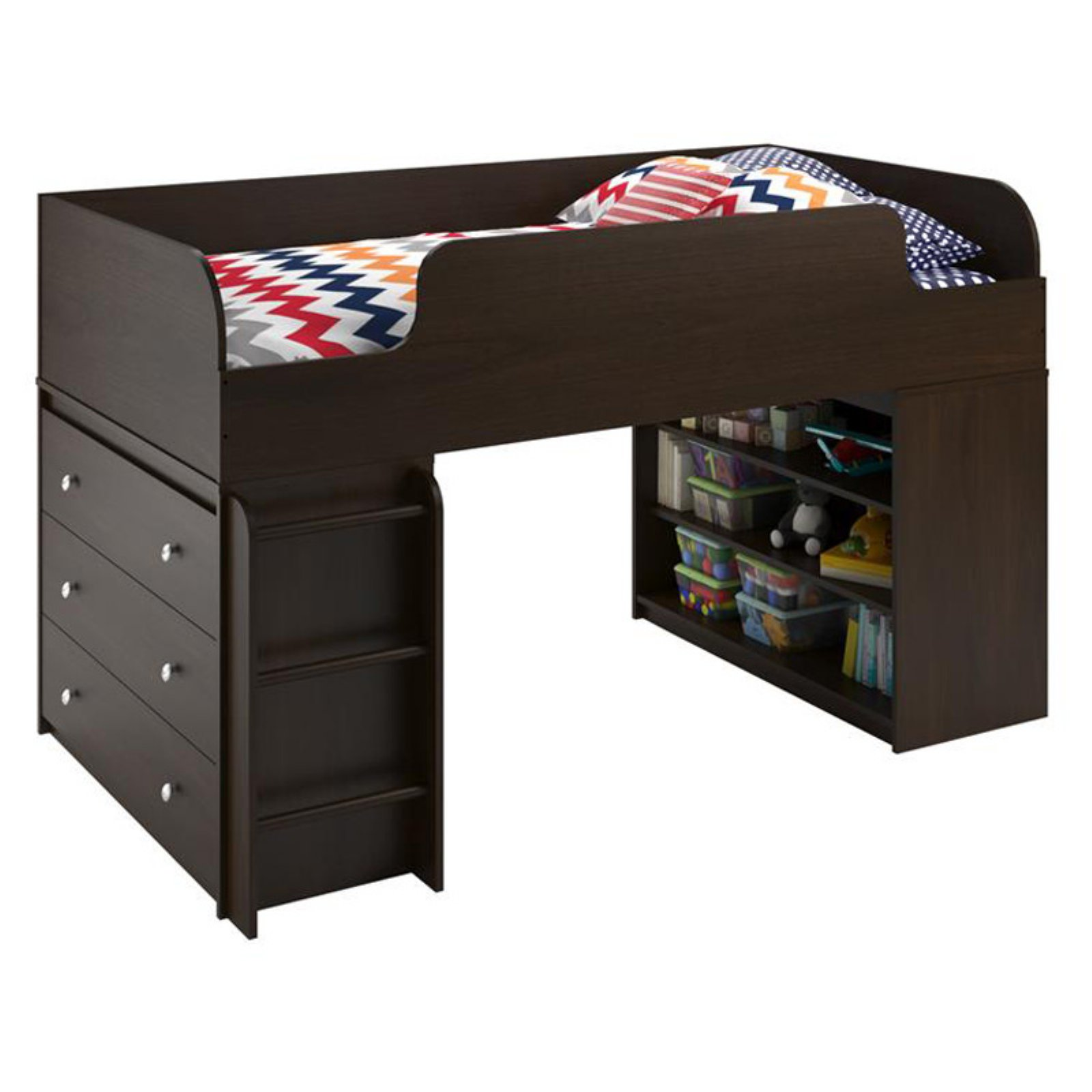 Ameriwood Home Elements Loft Bed with Bookcase and 3 Drawer Dresser, Dark Cherry