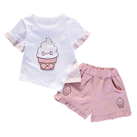 2Pcs Girl Clothing Set Short Sleeve T-shirt +Shorts Outfit for Baby Girl 1-5Y](Halo Outfit For Sale)