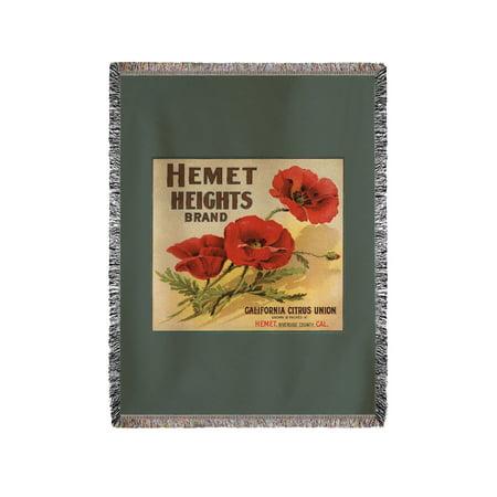 Hemet Heights Brand - Hemet, California - Citrus Crate Label (60x80 Woven Chenille Yarn Blanket) ()