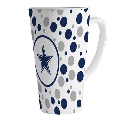 NFL - Dallas Cowboys 16oz White Polka Dot Latte Mug