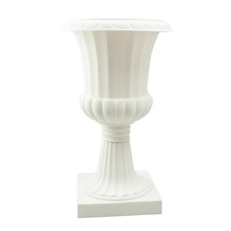 Tall Pedestal Plastic Planter Urn, Off-White,