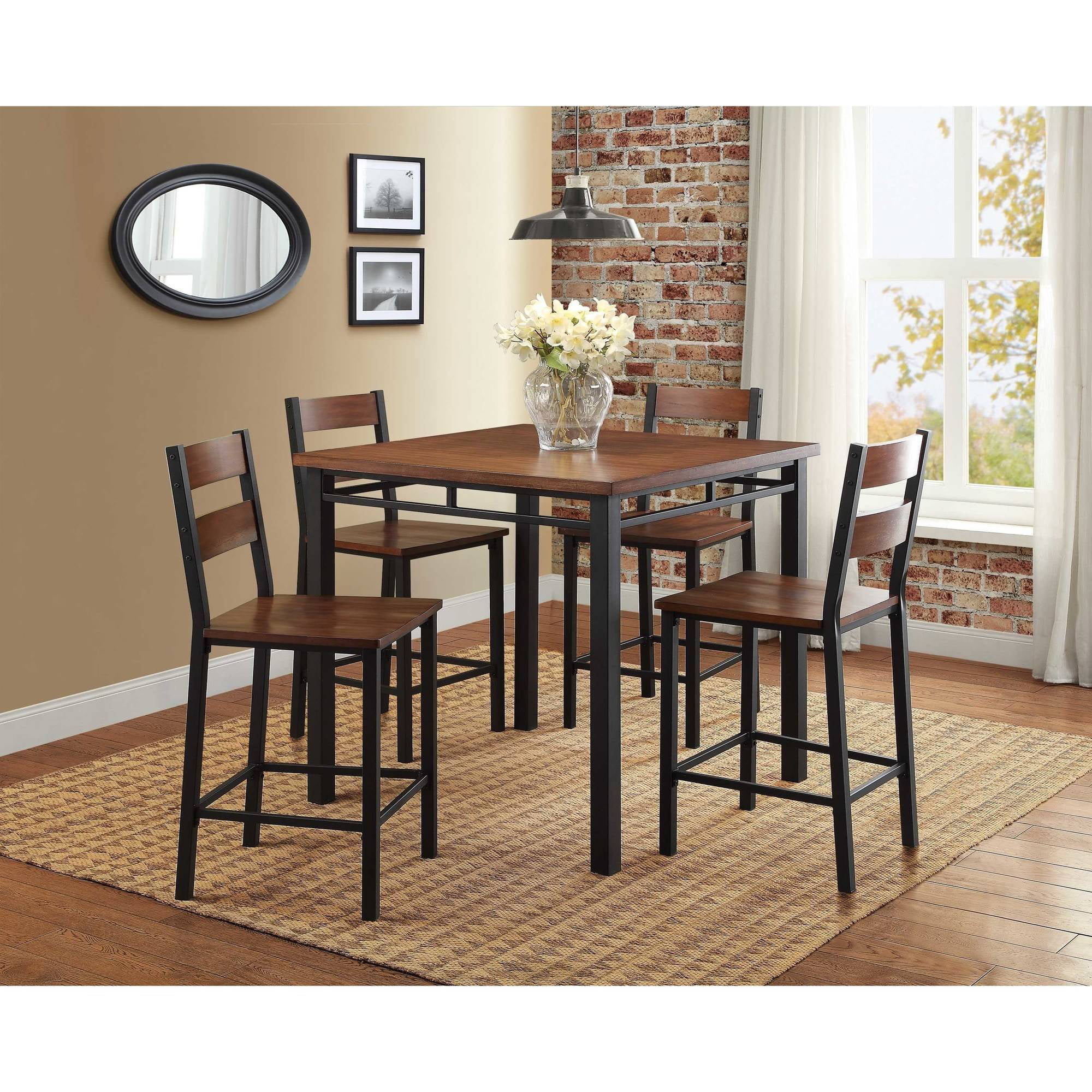 better homes and gardens mercer 5piece counter height dining set vintage oak walmartcom