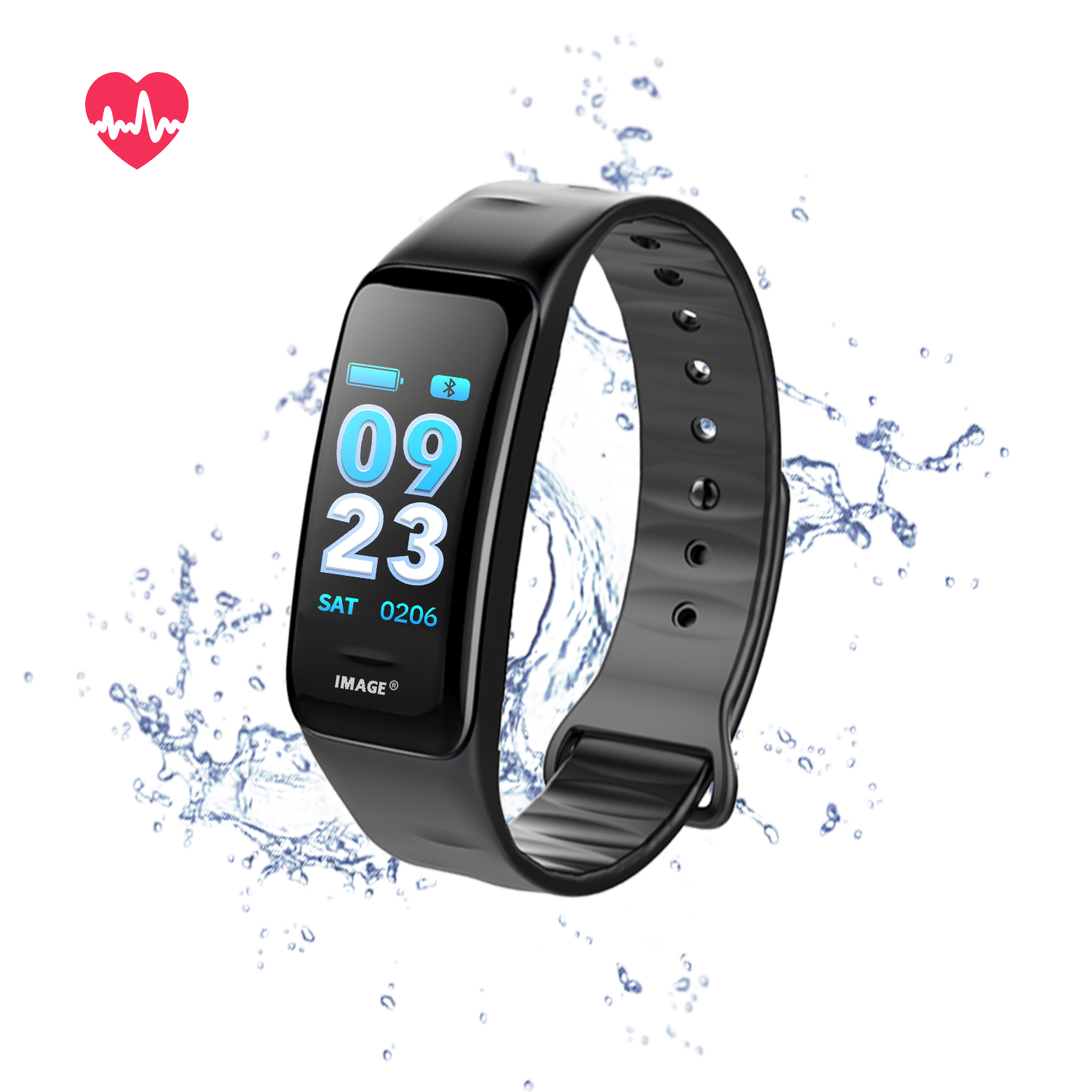 Fitness Tracker Heart Rate Monitor Watch Blood Pressure Activity Tracker Waterproof Smart Wristband for Kids Women Men,Black