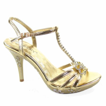 Fabulous-69 Women's Rhinestone T-Strap Open Toe Stiletto Heel Evening Party Shoes for $<!---->