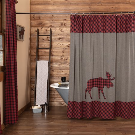 Chili Pepper Red Rustic Bath Shasta Cabin Moose Rod Pocket Cotton Button Holes For Shower Hooks Appliqued Chambray Nature Print Curtain