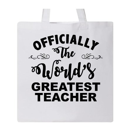 Officially The World's Greatest Teacher Tote Bag White One - Teacher Tote Bags