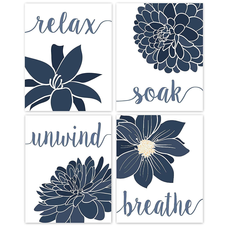 Relax Soak Unwind Breathe Navy Blue Bathroom Decor Flower Wall Art Poster Prints 4 Photos 8x10 Walmart Com Walmart Com