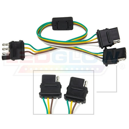 LEDGlow Flat 4 Pin Y-Splitter Adapter Trailer Harness for LED ...