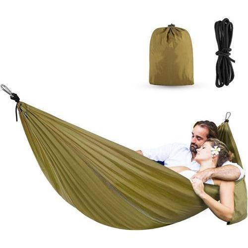 MWGEARS X28-Bronze Portable Double Hammocks Ultralight Nylon Parachute Hammock for Light Travel Backpacking Camping, Ropes & Steel Carabiners Included-X28-Brozen