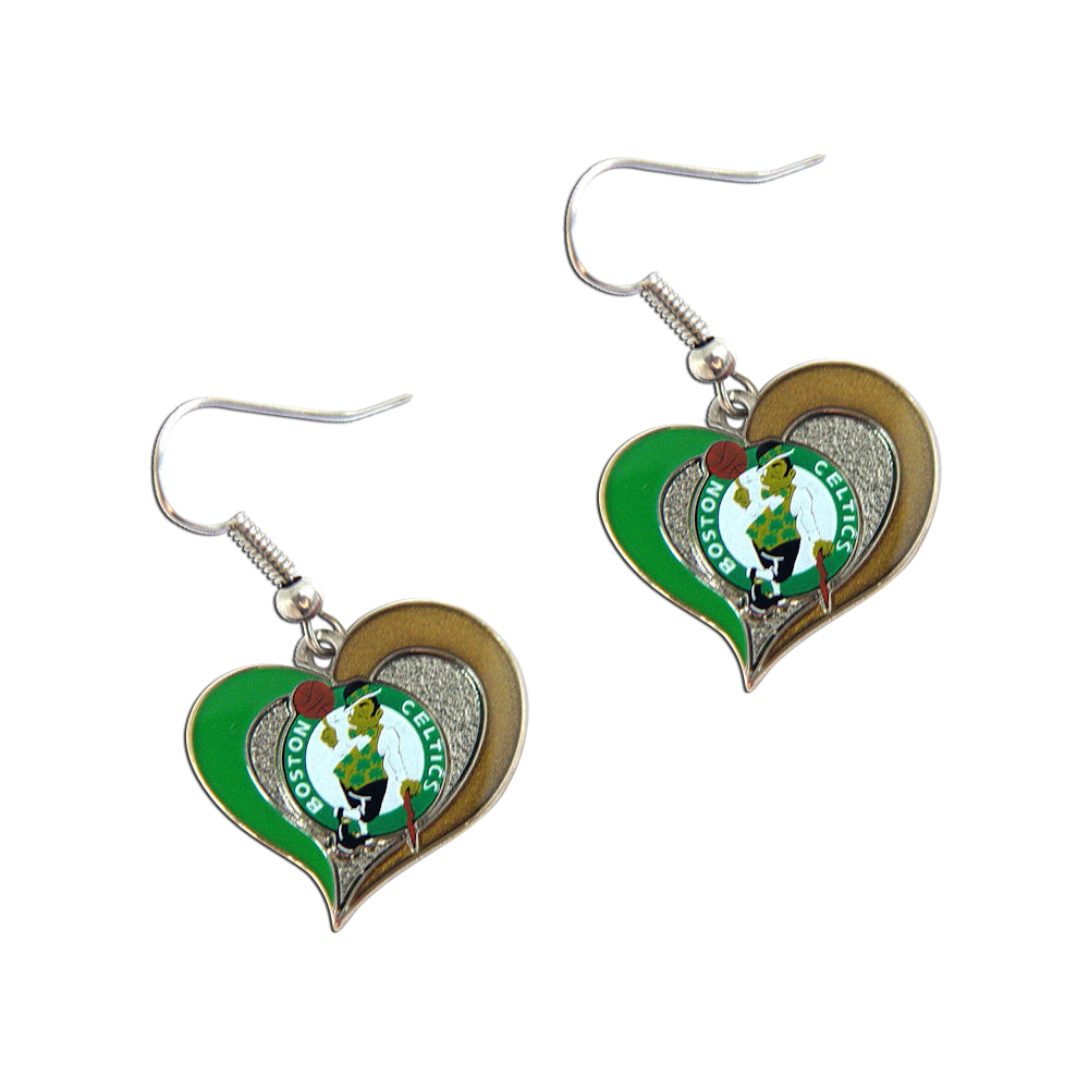 NBA Boston Celtics Swirl Heart Shape Sports Team Logo Dangle Earring Set Charm Gift