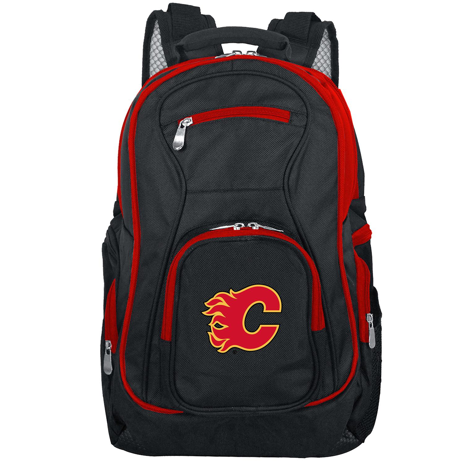 NHL Calgary Flames Premium Laptop Backpack with Colored Trim