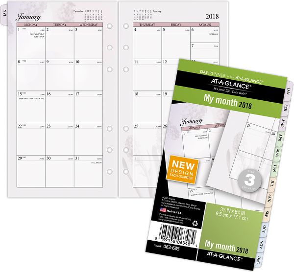 At-A-Glance Day Runner Nature Monthly Planner Refill Size 3 Loose-Leaf Planner by AT-A-GLANCE Day Runner