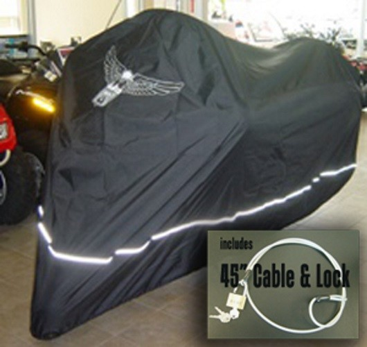 Fits up to 108 Length Large Cruiser Chopper Eagle Logo Includes Cable /& Lock Tourer Premium Motorcycle Cover