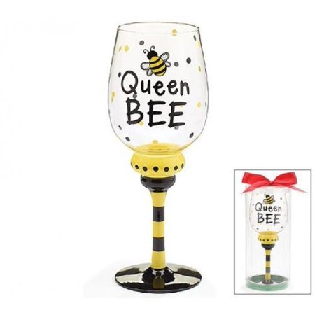 Queen Bee 16 oz Wine Glass/Goblet Adorable bumble Bee (Europa Collection Wine)