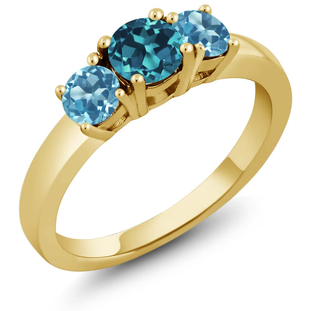 1.21 Ct London Blue Topaz Swiss Blue Topaz 925 Yellow Gold Plated Silver Ring