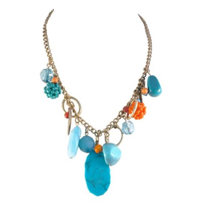 C Jewelry Turquoise And Gold Charm Necklace