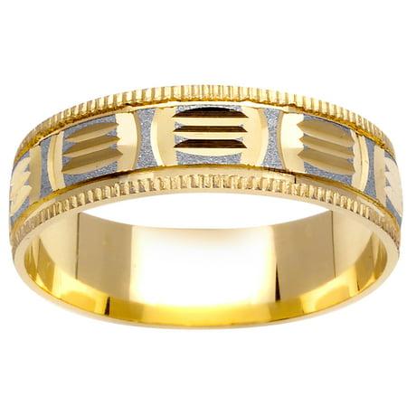 (14K Two Tone Gold Pattern Modern Women's Wedding Band (6mm))