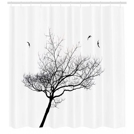 Black And White Shower Curtain Silhouette Of A Tree And Flying