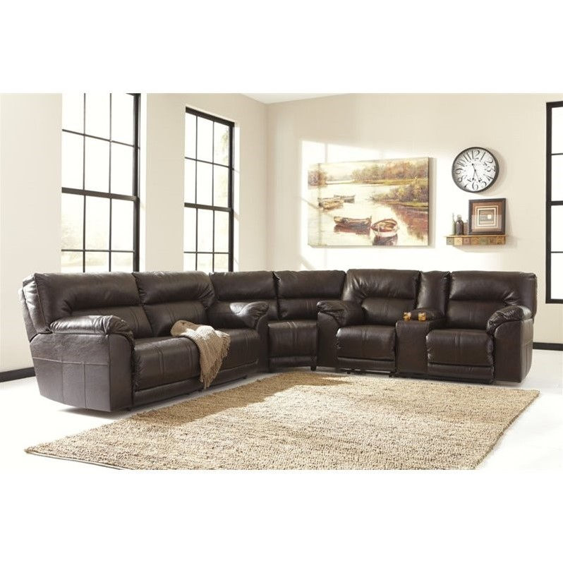 Ashley Barrettsville 3 Piece Leather Reclining Sectional in Chocolate by Ashley Furniture