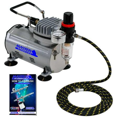 Quiet PRO AIRBRUSH COMPRESSOR w-AIR REGULATOR & WATER TRAP FILTER Cake (Best Water Trap For Air Compressor)