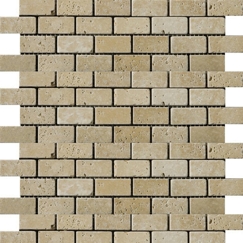 Emser Tile Natural Stone 2'' x 1'' Fontane Travertine Offset Mosaic in Ivory Classic