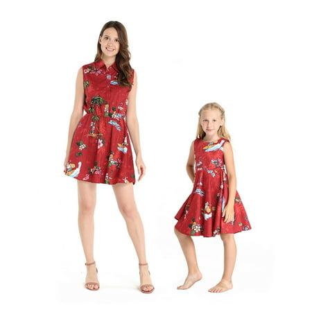 Matching Hawaiian Luau Mother Daughter Shirt Dress and Vintage Dress in Christmas Santa in Hawaii Red 2XL-4 - Vintage Luau