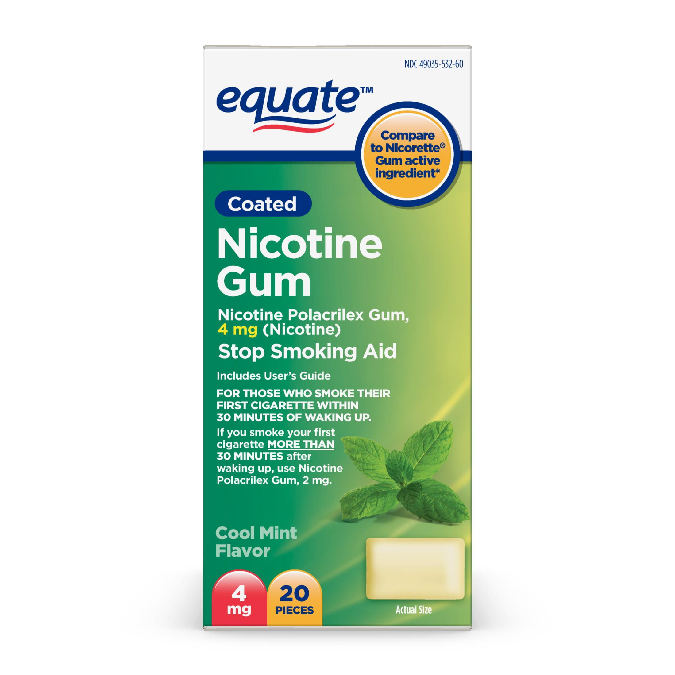 Equate Nicotine Gum Stop Smoking Aid, Cool Mint Flavor, 4 mg, 20 Ct
