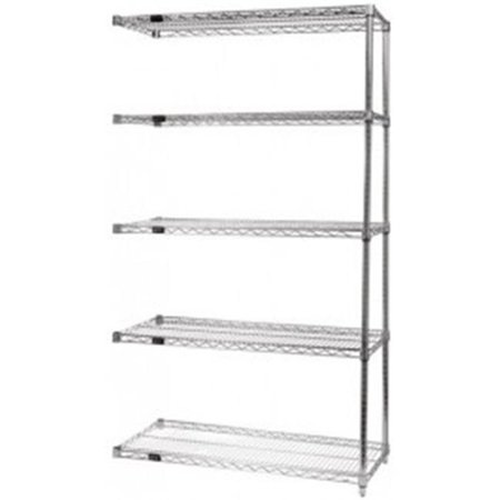 5-Shelf Wire Shelving Add-On Unit Stainless Steel - 21 x 42 x 74 in. - image 1 of 1