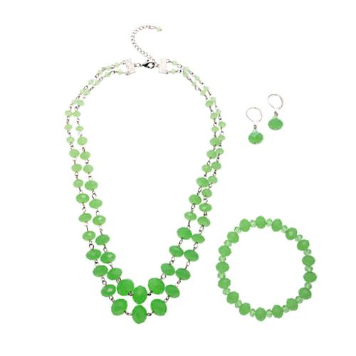 Alexa Starr Double Strand Opalescence Crystal Necklace Earring and Bracelet Jewelry Set Green
