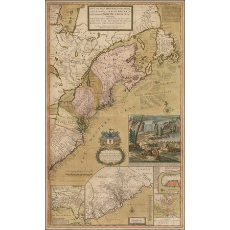 LAMINATED POSTER A New and Exact Map of the Dominions of the King of Great Britain on ye Continent of North America . . .[the Beaver Map in full original color] POSTER PRINT 24 x 36