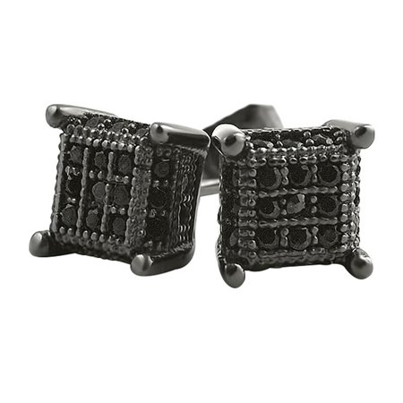 Pave Cube (Small 3D Cube Black Micro Pave Iced Out Earrings )