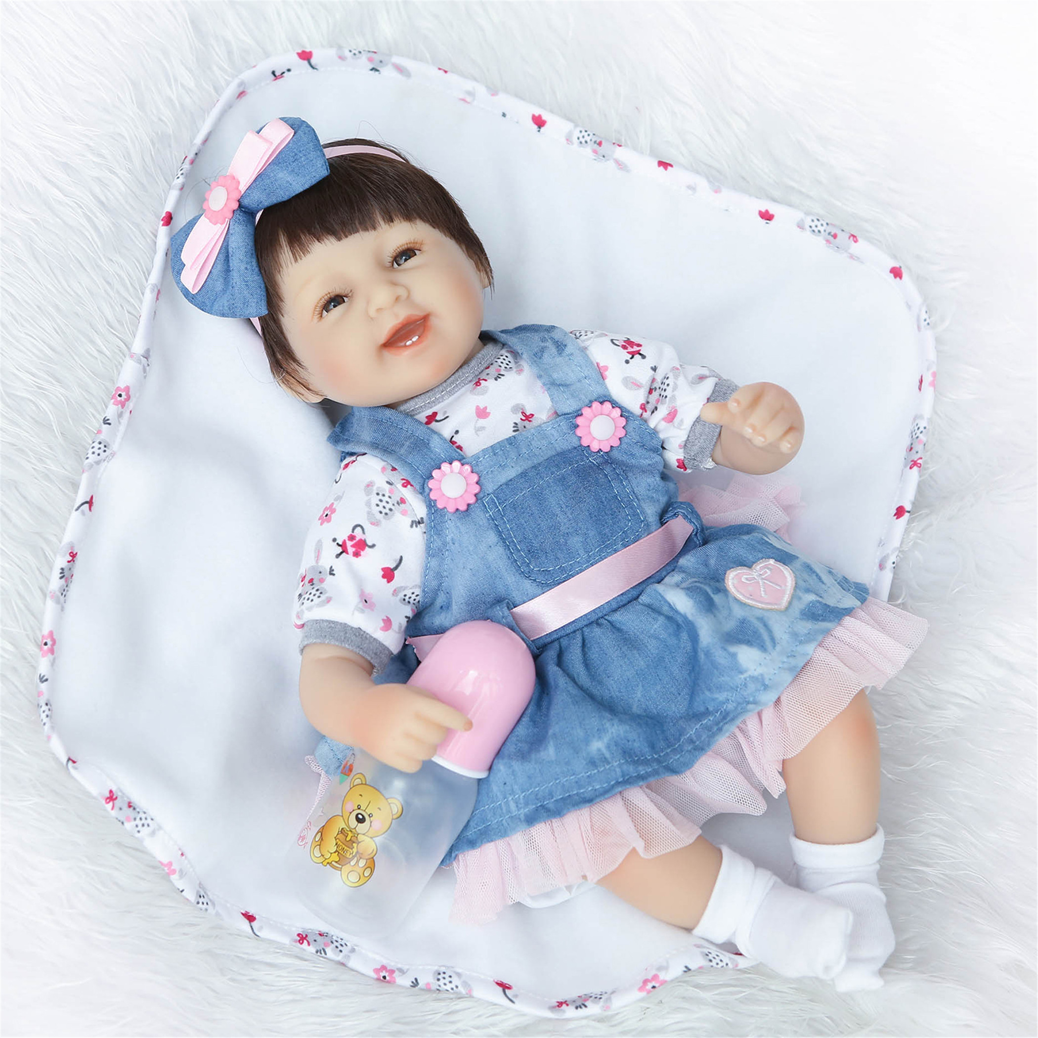NPK Collection Reborn Baby Doll Soft Silicone vinyl 18inch 45cm Lovely Lifelike Cute Baby Birthday gift Christmas gift
