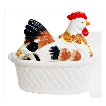 Vintage 3-Piece White Ceramic Nesting Rooster/Hen On Basket Gravy Tureen w/ Ladle Japan - Ceramic Tureen