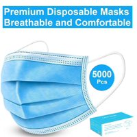 Disposable Face Mask - 5000 Pack - Disposable Face Masks, 3-ply Elastic Ear Loop Filter Mask