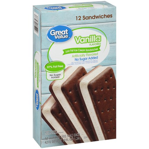 Great Value Vanilla Flavored 97% Fat Free Ice Cream Sandwiches, 42 oz