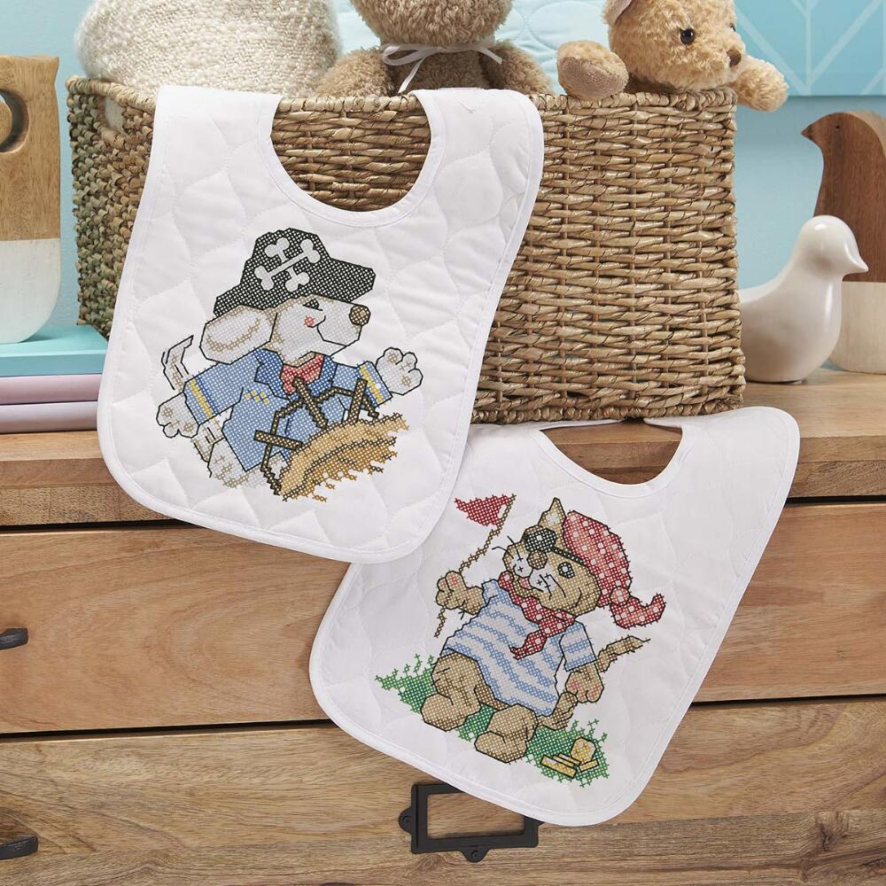 Baby by Herrschners® Pre-Quilted Pirate Voyage Baby Bibs Stamped Cross-Stitch Kit