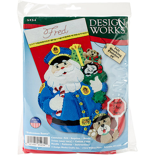 "Policeman Santa Stocking Felt Applique Kit, 18"" Long"