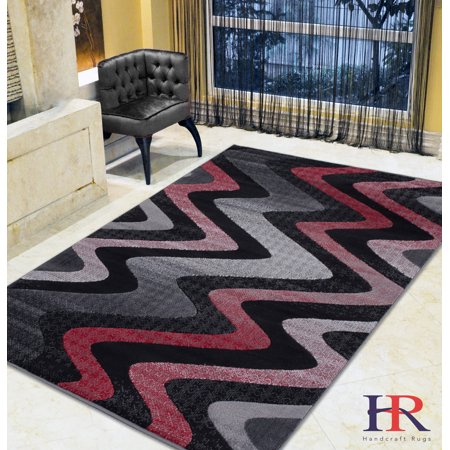Handcraft Rugs Lava Red Grey Silver Black Abstract Area Rug