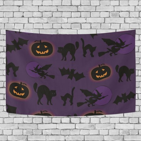 MYPOP Halloween Cat Tapestry Wall Hanging Decoration Home Decor Living Room Dorm 90 x 60 inches - Halloween Dorm Room Decorations